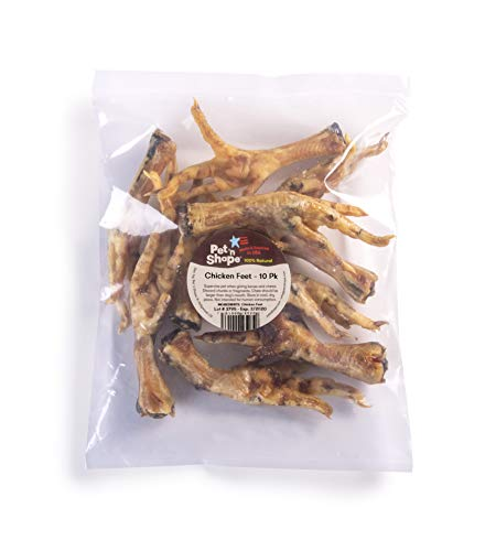 Pet 'n Shape Chicken Feet Dog Treat - Made & Sourced in The USA - All Natural Dog Chewz, 10 Count