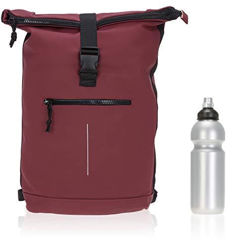 Rucksack Plane Time Bag Kurierrucksack Roll-up Fahrradrucksack Sport Fitness + Flasche (Rot Bordeaux 24)