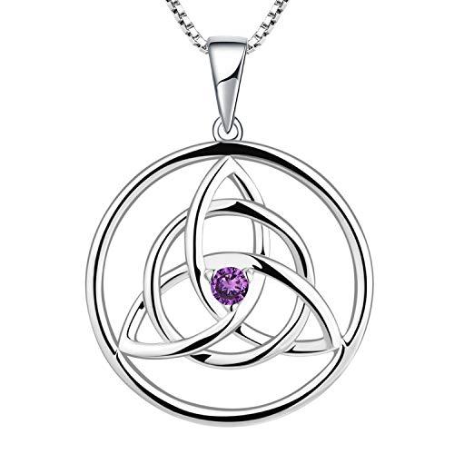 YL Collar celta 925 plata esterlina amatista púrpura CZ irlandés celta nudo colgante collar para mujer, longitud de cadena 45 + 3 cm