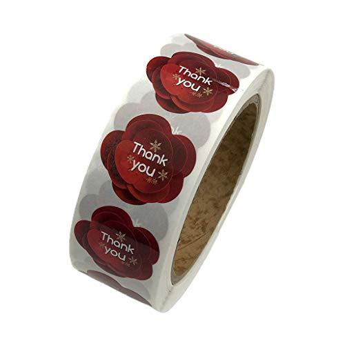600 piezas / 1 rollo elegante guirnalda de flores letras de agradecimiento imprimir etiquetas adhesivas