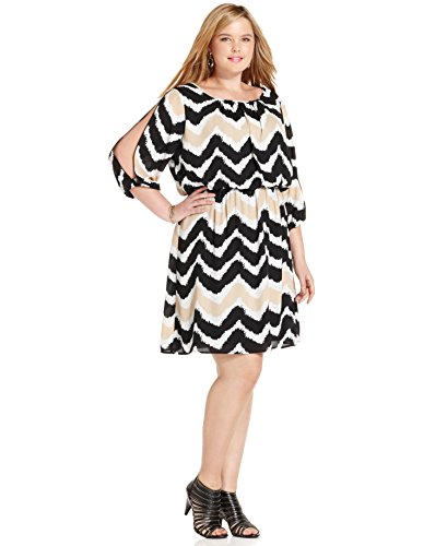 Ruby Rox Three-Quarter-Sleeve Chevron-Print Dress, Ivory Black, 3X