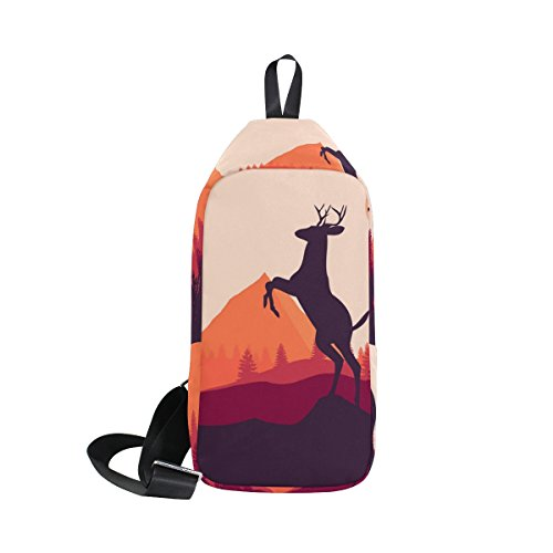 COOSUN firewatch Deer Sling Bag Schulter Brust Kreuz Körper Rucksack Leicht Casual Tagesrucksack für Männer Frauen