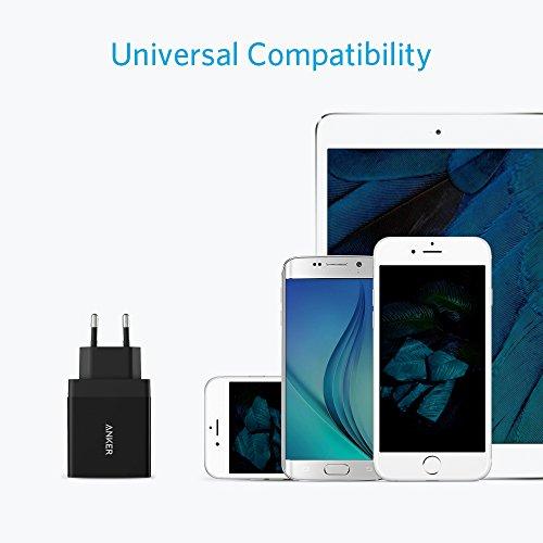 Anker 24W 2-Port USB Ladegerät mit PowerIQ Technologie für iPhone, iPad, Samsung Galaxy, Nexus, HTC, Motorola, LG und viele mehr (Schwarz)