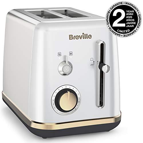 Breville VTT935X - Tostador de 2 rebanadas con bandeja para calentar bollería, colección Mostra, color plateado Moonshine Silver con detalles dorados