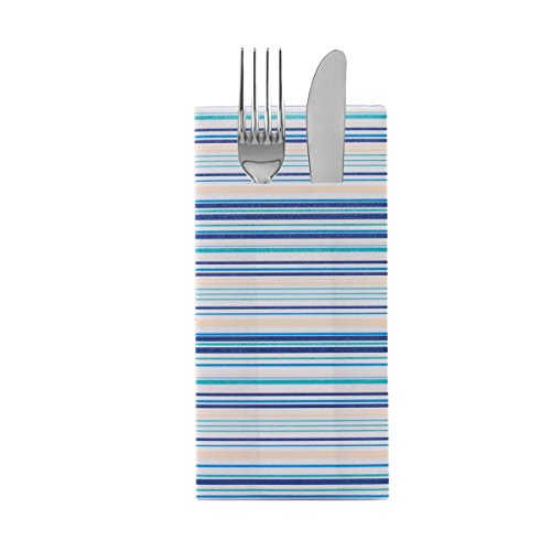 Sovie Home Airlaid-Besteckservietten Stefano 40x40 cm/hochwertige Einweg-Servietten als Bestecktasche/extrem saugstark und stoffähnlich/ideal für Hochzeit & Partys (Blau)
