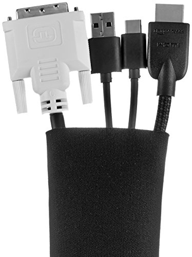 AmazonBasics Wire Cable Management Sleeve Cover Organizer - Zipper, 20-Inch, Black, 4-Pack