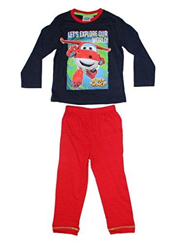 Super Wings Jungen Pyjama Schlafanzug lang (98 (3 Jahre), Dunkelblau)