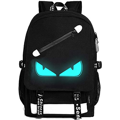 FLYMEI Anime Luminous Backpack, 15.6 Inch Laptop Backpack for Boys School Backpack with USB Charging Port, Lightweight Daypack with Anti-Theft Lock, Shoulder Travel Backpack for Teens