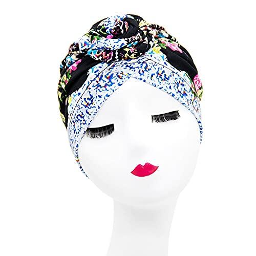 Sombrero de turbante árabe para mujer con estampado de moda y turbante étnico, sombrero musulmán (color: 1)