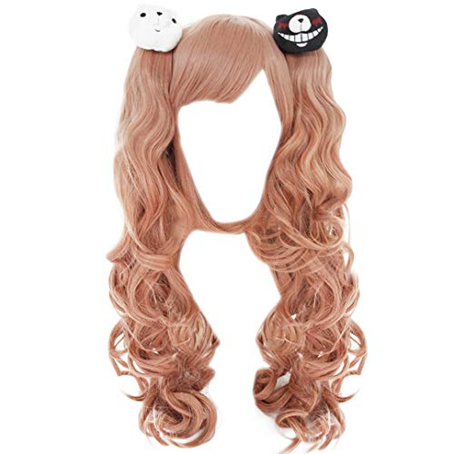 Anogol Free Hair Cap+Pink Cosplay Wig with 2 Bears Long Curly Wig with 2 Ponytails for Lolita Wigs