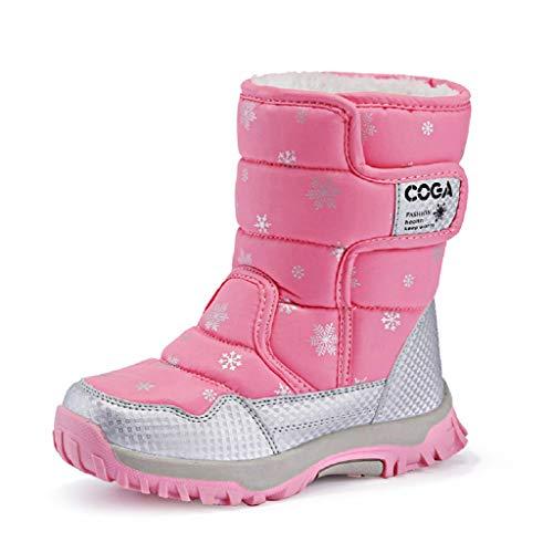 DoGeek Niños Botas de Nieve Impermeable Bota de Invierno Zapatos Calientes (Rosa Negro y Morado)