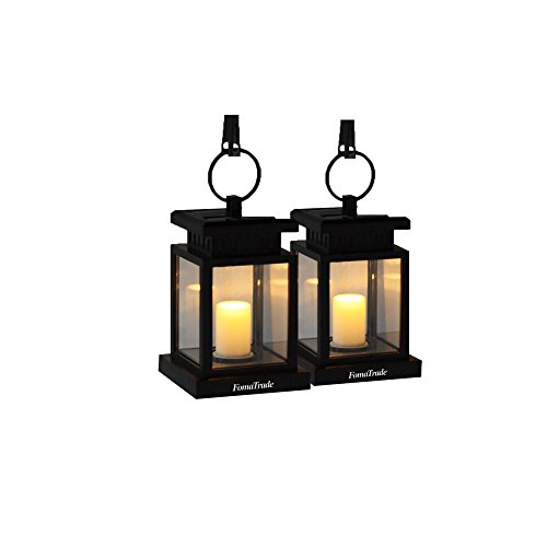 LED Solar Mission Lantern by Fomatrade Pack of 6 Vintage Waterproof Umbrella Lantern Led Candle Lights with Clamp for Beach Umbrella Tree Pavilion Garden Yard Lawn Outdoor (Warm Light) (Black)