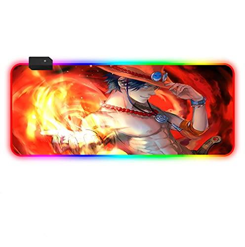 Alfombrilla de ratón Anime Naruto Ace, RGB, para juegos, ampliada, XL, rojo, con iluminación LED multicolor, para PC, portátil, escritorio, 600 x 300 mm