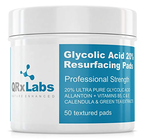 Glycolic Acid 20% Resurfacing Pads for Face & Body with Vitamins B5, C & E, Green Tea, Calendula, Allantoin - Exfoliates Surface Skin and Reduces Fine Lines and Wrinkles - Peel Pads