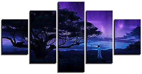 primera vez respuesta BAIF 5 Unidades Lienzo de Pintura Lienzo HD Imprime Imprime Imprime Cartel Arte de la Parojo 5 Unidades Pantera negro Pinturas árbol Modular Abstracto Nightscape Fotos Decoración Marco  disfrutando de sus compras