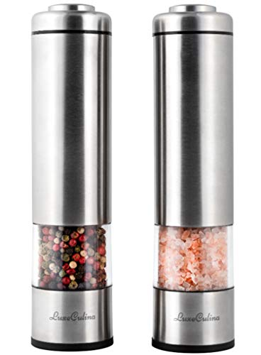 PREMIUM Electric Salt and Pepper Grinder Set - Battery Operated Stainless Steel Mills with Light (2 mills)- Automatic Shakers with Adjustable Coarseness