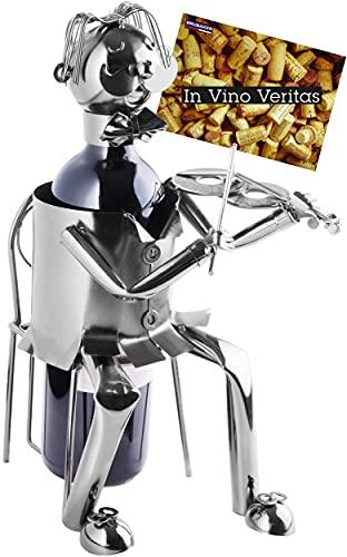 Brubaker Soporte para botellas de vino, escultura de metal, soporte para botellas, regalo para violinistas y músicos, con tarjeta de felicitación
