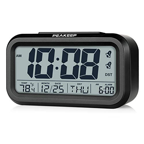 PEAKEEP DST Battery Digital Dual Alarm Clock, Low High Nightlight for Night, Multifunctional Clock with Calendar, Date, Day of Week, Indoor Temperature, 2 Alarms with Snooze (Black-DST)