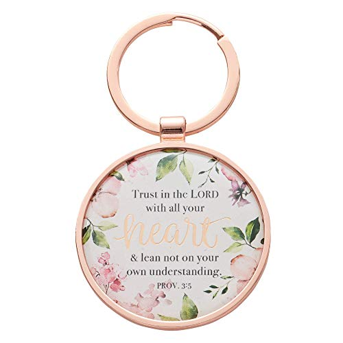 Trust In The Lord - Proverbs 3:5 Flowered Rose Gold Keychain Keyring Accessory for Women