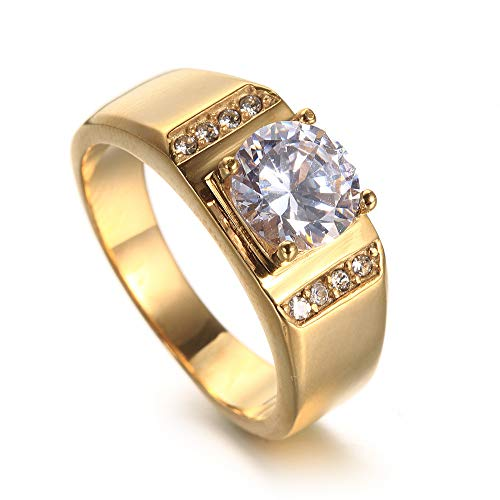 ZhongDa Ring, Herrenring aus Edelstahl mit elektrischen Goldnieten, Herrenring aus Stilvollem und Einfachem Titanstahl