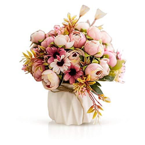 Kitchen-dream Flor Artificial, Flores Falsos decoración, Flores Artificiales con Jarron, Ramo Artificial de plástico...