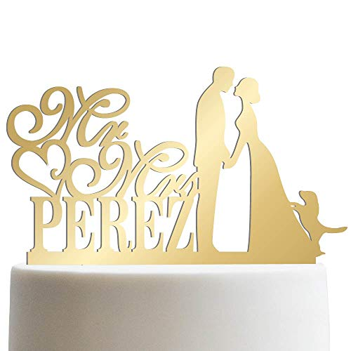 Groom Bride and Puppy Wedding Cake Topper Custom Made Wedding Favor Mr Mr With Dog Cake Topper for Wedding   Mirrored Cake Toppers