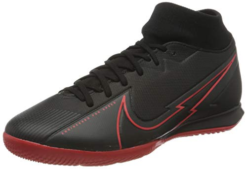 Nike Unisex Superfly 7 Academy Ic Football Shoe, Black Black Dark Smoke Grey Chile Red, 43 EU