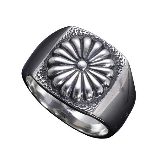 [龍頭] シルバー 950 菊紋 印台 リング 指輪 メンズ 14号