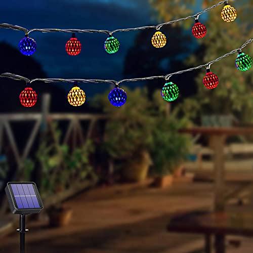 Marocco Colore Catena Luminosa Esterno Solare, 50LED 7M Luci da Esterno con 8 Modalità, Impermeabile Giardino Catena luminosa, Mini Catena Luci Stringa Decorazioni Natalizie per interni ed esterni