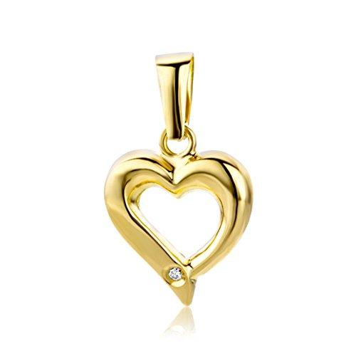 Miore Anhänger Damen 0.01 Ct Diamant Kettenanhänger Herz aus Gelbgold 18 Karat / 750 Gold, Schmuck mit Diamant Brillant