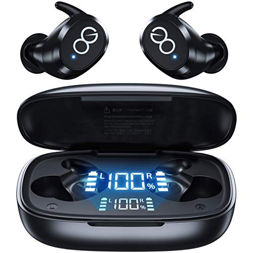 VEATOOL Wireless Earbuds-Bluetooth 5.1 Headphones IPX8 Waterproof with Wireless Charging Case,Premium Deep Bass Earphones in Ear Earpods with Smart LED Display Built-in Mic for Sport Running Workout