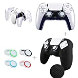 2 Pack Covers for PS5 Controller Skins Protective shell, Silicone Protective Cover, Crystal Clear Case ( with 8 pcs Thumb Grip Caps)