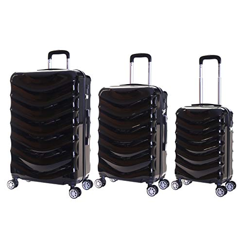 Karabar Set of 3 Hard Polycarbionate PC Suitcases Luggage Bags Small Carry-on Cabin, Medium and Large ABS Shell Sets with 4 Spinner Wheels and Integrated TSA Number Lock, Ripple Black