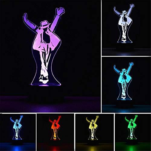 Lámpara de ilusión 3D Singing Star Michael Jackson Luz de noche junto a la lámpara de mesa 16 cambio de color lámpara de decoración con control remoto para niños, regalos para niños