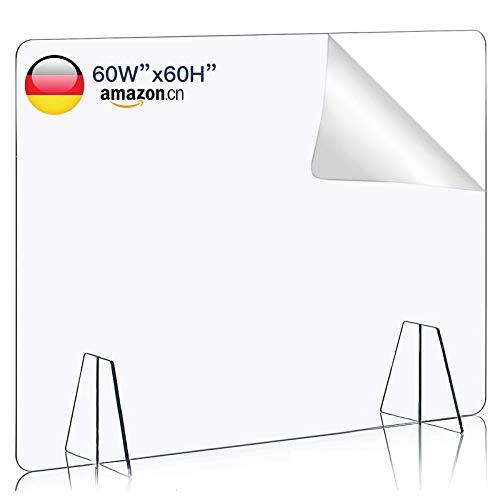 TvvaaFog Acrylglas Schutzwand Schutzscheibe Thekenaufsatz Schutzwandt transparent für Büro Schreibtisch aus Acrylglasplatte,Stabil,Hustenschutz Niesschutz
