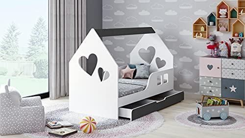 BDW Cama infantil con cajón de 140 x 70 cm, diseño moderno con bordes seguros.