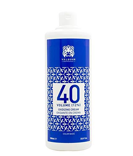 Crema Professionale Ossigenata Valquer Stabilizzata, 40 Volumi (12%). Colorazione permanente dei capelli Uso professionale parrucchiere. Formulazione Vegana - 1000 Ml