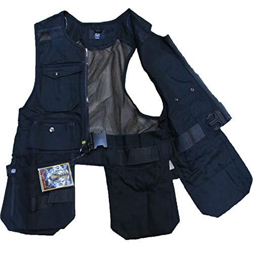 Men Work Vest Pockets Utility Vest Tool Pockets Pro (Large, Black)