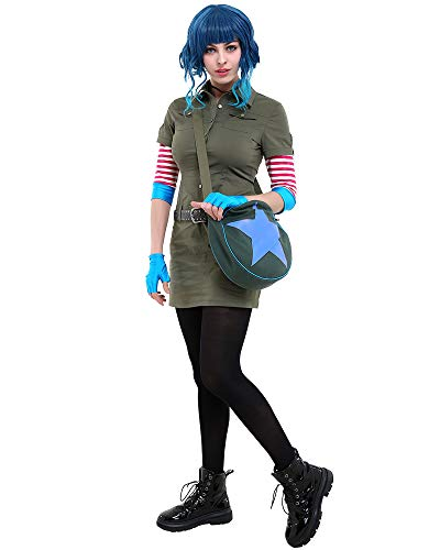 Cosplay.fm Women's Ramona Flowers Cosplay Costume Cargo Dress Outfit with Star Circle Messenger Bag (L, Multicolored)