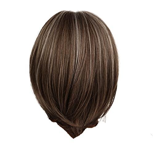 Sexy avec bob Court de Couleur Noire Naturelle pour Femmes Cheveux raides résistant à la Chaleur Bandeaux Cosplay fête en Plein air ou comme Cadeau Fibre Mode Pleine extrémité Courte Perruques