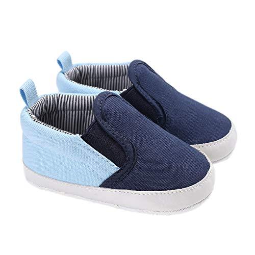 DEBAIJIA Bebé Primeros Pasos Zapatos 12-18M Niños Suave Suela Antideslizante Ligero Slip-on Zapatillas 20 EU Azul (Tamaño Etiqueta-3)