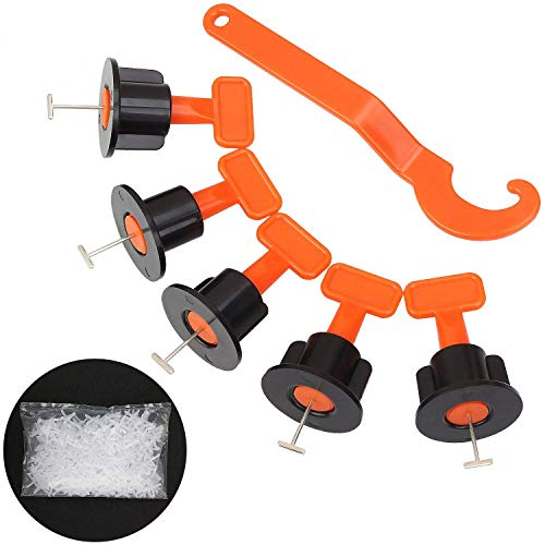Ziqi Tile Leveling System Kit with 100pcs Tiles Leveler T-Needle, 1.5mm Tile Spacers 400pcs with 1 Wrench, Reusable Spacer Flooring Level Tile Levelers Set for Building Walls & Floors Construction