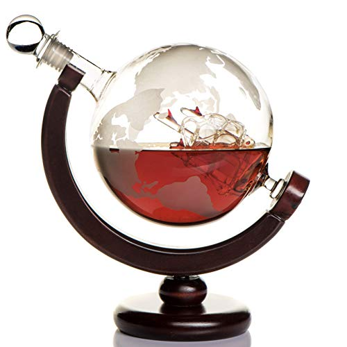Etched Whiskey Globe Decanter