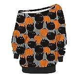 Schulterfrei Shirt Damen Oberteile Dasongff Halloween Druck Langarm Bluse Tunika Longshirt Pullover...