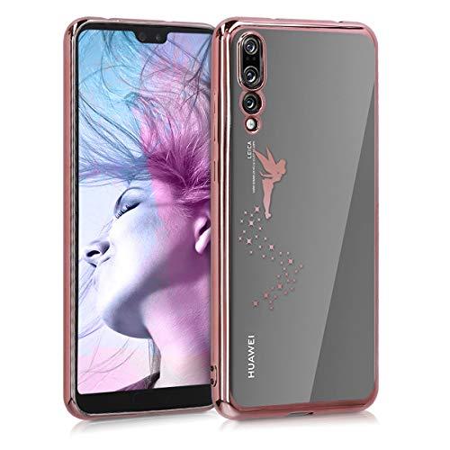 kwmobile Cover Compatibile con Huawei P20 PRO - Custodia Protettiva Cover in Silicone TPU Cristallo Trasparente - Back Cover Case Cellulare Fatina Oro Rosa/Trasparente