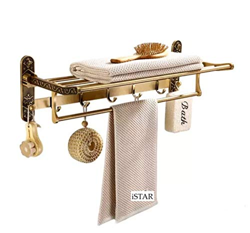 iSTAR Rajwadi Look Antique Stainless Steel Folding Towel Rack for Bathroom/Towel Stand/Hanger/Towel Rod Bathroom Accessories (24 Inch-Brass Finish)