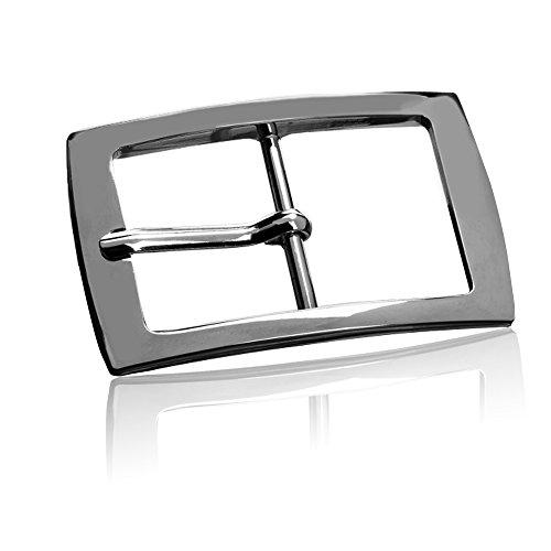 Gürtelschnalle Buckle 40mm Metall Silber Poliert - Buckle Gleamy - Dornschliesse Für Gürtel Mit 4cm Breite - Silberfarben Poliert