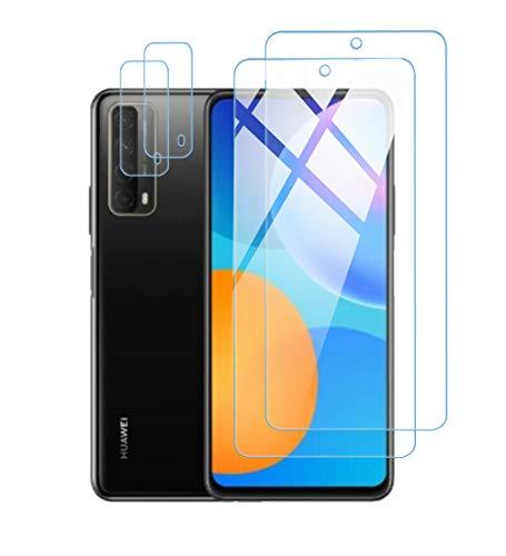 Effcotuo Panzerglas für Huawei P Smart 2021 Schutzfolie + Kamera Displayschutzfolie aus gehärtetem Glas [9-H-Härte] [Kristallklarheit] [Kratzfest] mit Huawei P Smart 2021