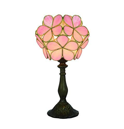 Tiffany Lámpara De Mesa Hermosas Flores Rosadas Con Aleación De Zinc Base, Bombilla For Uso En Interiores Solamente For La Cabecera Del Dormitorio De La Sala De Estar (Color : Pink)
