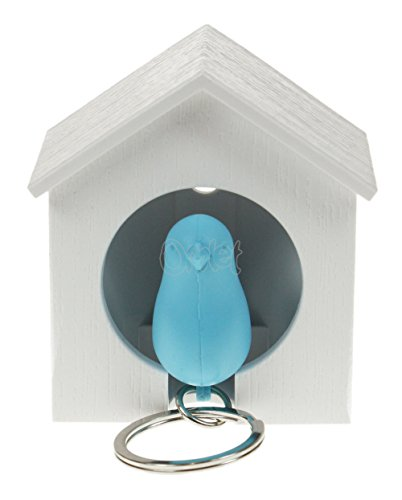 QUALY QL10091W-BL Schlüsselhalter anhänger und Trillerpfeife Sparrow Key Ring, weiß/blau